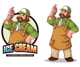 Ice cream seller mascot design vector