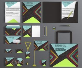 Identity corporate stationery collection vector