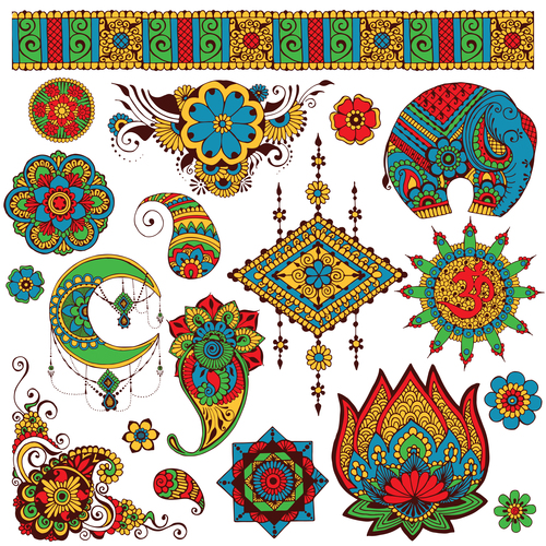 Indian authentic ornament and decor vector