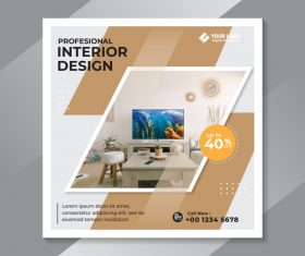 Interior design cover vector