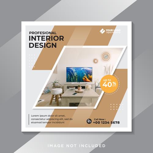 Interior design cover vector