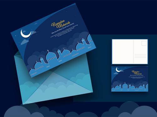 Islamic holiday greeting card vector