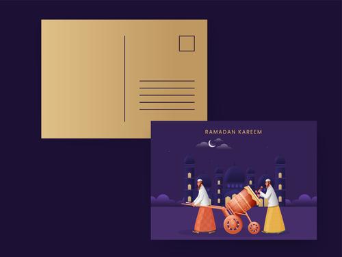 Islamic ramadan mubarak greeting card vector