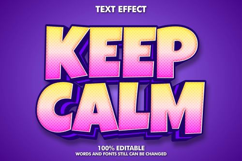 Keep calm words and fonts 3d text style vector