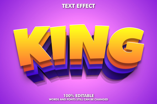 King words and fonts 3d text style vector