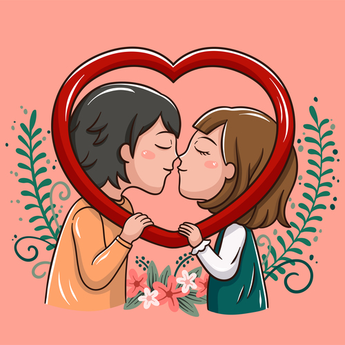 Kiss cartoon illustration vector