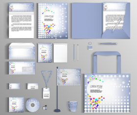 Light blue corporate identity stationery collection vector