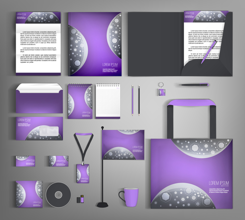 Light purple and black cover corporate stationery collection vector