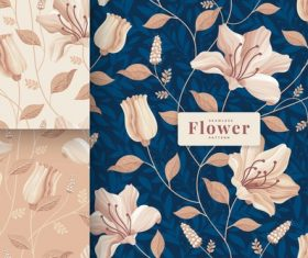 Lily flower seamless pattern vector