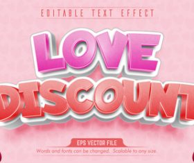 Love discount text 3d pink style text effect vector