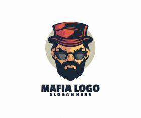 Mafia head logo template vector