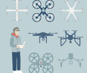 Man and drone vector