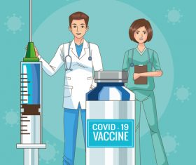 Medical staff and vaccine cartoon illustration vector