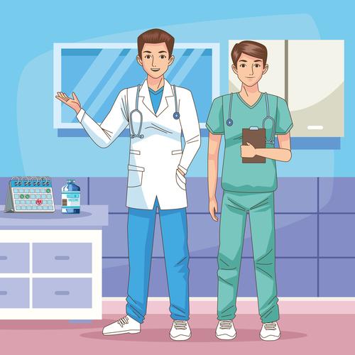 Medical staff cartoon illustration vector
