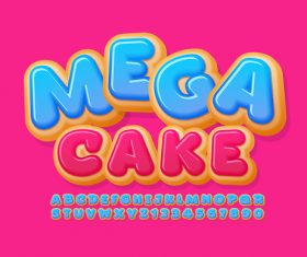 Mega cake enlightenment english teaching alphabet vector