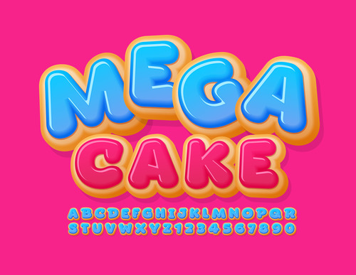 Mega cake enlightenment english teaching alphabet vector
