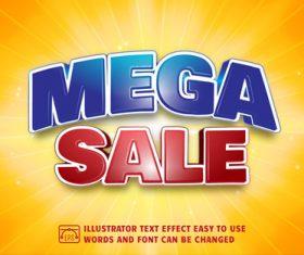 Mega sale 3d text style effect vector