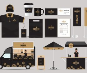 Mobile coffee cart black suit design vector