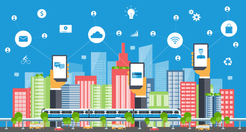 Mobile communication illustration vector