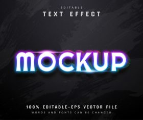 Mockup text colorful neon style text effect vector