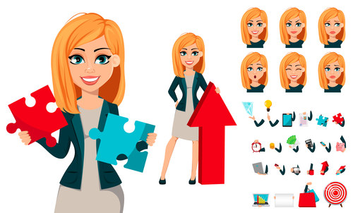 Modern young business woman vector