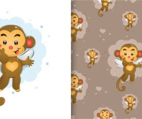 Monkey hand drawn seamless cartoon background pattern vector