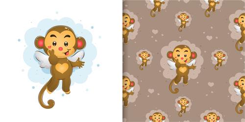 Monkey hand drawn seamless cartoon background pattern vector