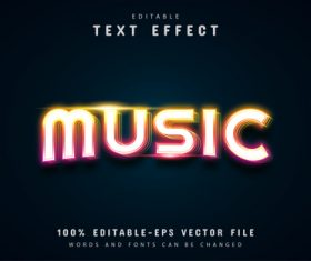 Music text colorful neon text effect vector