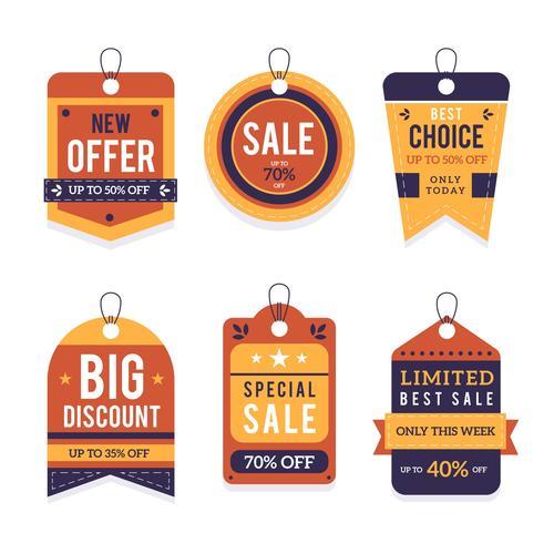 New offer sale flat label design vector