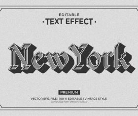 New york vintage style editable text effect vector