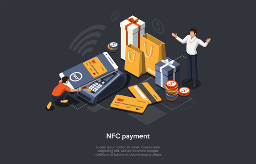 Nfc payment mobile shopping concept vector