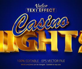 Nights text 3d golden style text effect vector