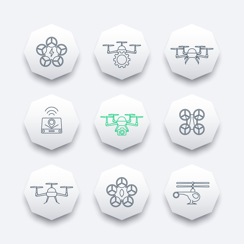 Octagon icon drones vector
