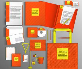 Orange corporate identity stationery collection vector