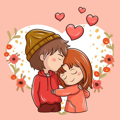 Our love cartoon illustration vector