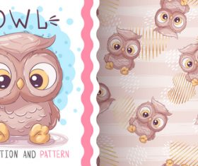 Owl cartoon vector seamless pattern