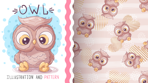 Owl cartoon vector seamless pattern