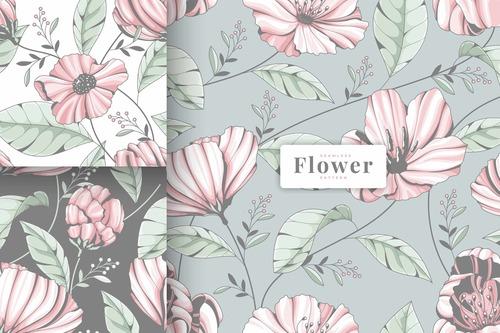 Painted pastel colour floral pattern vector