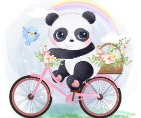 Panda riding a bicycle watercolor illustration vector