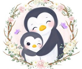 Penguin mother and baby in flower frame vector