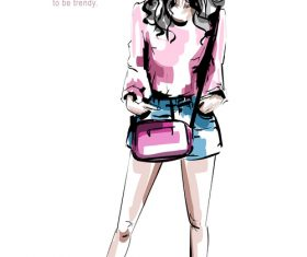 Personality fashion girl watercolor illustration vector