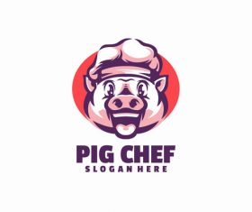 Pig chef logo template vector