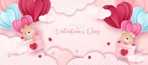 Pink background Valentines day paper style greeting card vector