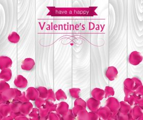 Pink petals valentine's day greeting card vector
