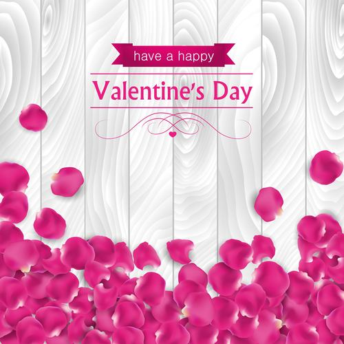 Pink petals valentines day greeting card vector