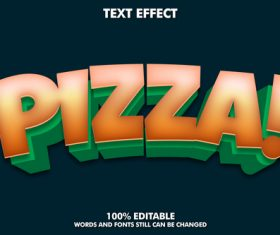 Pizza words and fonts 3d text style vector