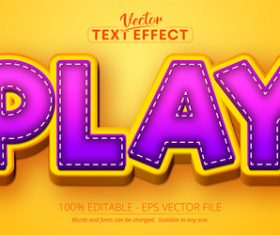 Play text 3d purple style text effect vector