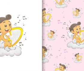 Playing harp cartoon seamless background vector