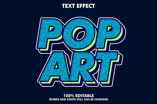 Pop art words and fonts 3d text style vector