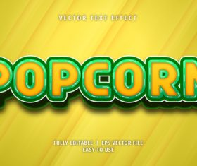 Popcorn text 3d yellow green style text effect vector